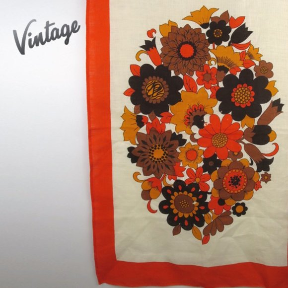 Vintage Linen Groovy Flower Power Tea Towel